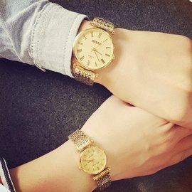 復古金屬鍍金色土豪金男女情侶羅馬數字 大牌潮手錶