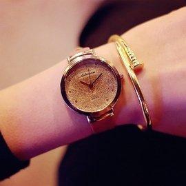 手表女學生 簡約氣質金沙表潮流 復古女士時裝表閨蜜手表