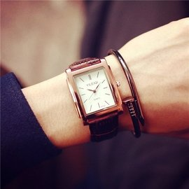 簡約長方形表盤手表非機械男表潮流休閒復古皮帶男士款石英表