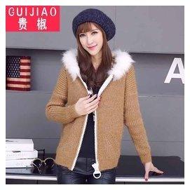 少女冬裝2015青少年 連帽修身針織開衫學生長袖毛衣短外套