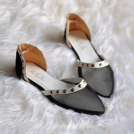 潮春秋蘑菇街 尖頭鉚釘平底涼鞋平跟單鞋 女鞋子涼拖鞋