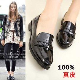 英倫風復古女鞋 漆皮尖頭單鞋樂福鞋黑色平底鞋平跟真皮牛津鞋