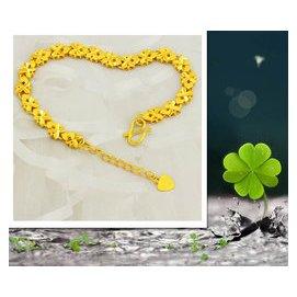 正品24黃金手鏈幸運四葉草轉運珠男女款純金手鐲首飾