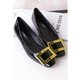 2014春夏 小辣椒同款鞋RV方扣低跟方頭女單鞋漆皮粗跟潮鞋
