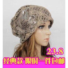 春秋化療帽女 透氣月子帽花朵頭巾帽堆堆帽秋鼕鏤空包頭帽
