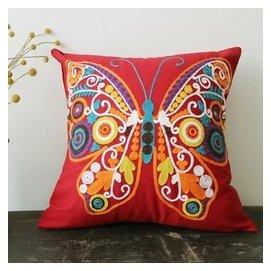 新品蝴蝶棉麻抱枕 靠墊刺繡繡花撞色民族風 大紅靠枕絢麗沙發靠包