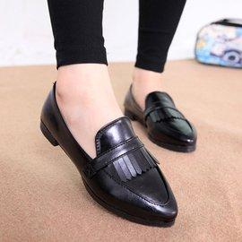2014 中口 單鞋英倫復古擦色低跟鞋 軟皮尖頭皮鞋流蘇單鞋