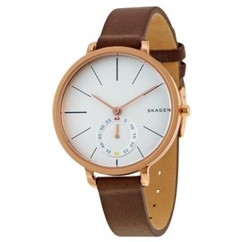 美國~SKAGEN~SKAGEN 丹麥 品牌Hagen極簡小秒針腕錶~咖啡 玫瑰金 34m