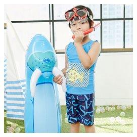 冰沙2015兒童泳衣 卡通背心式大小男童分體平角褲男孩泳衣帶帽子