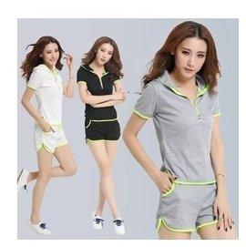 2016 連帽短袖T恤 短褲女式夏裝套裝 款 套裝Y5017