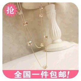 ON0070 韓國飾品 多層 水晶串珠長款項鏈 毛衣鏈 服裝配飾掛飾