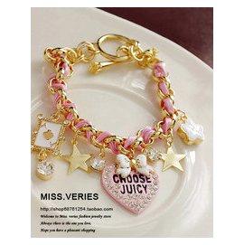 韓國精致愛心水滴星星小飾物吊墜手鏈 女生 多層可愛甜美皮繩