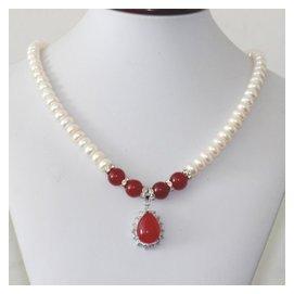 正品 天然淡水珍珠項鏈 女 紅綠瑪瑙吊墜項鏈送媽媽 9~10MM