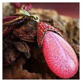 精致簡約 波西米亞 民族風 琥珀項鏈 百搭女款飾品 粉色吊墜