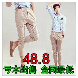 2013 男裝潮男 修身九分褲 背帶褲 男式 褲 個吊帶褲