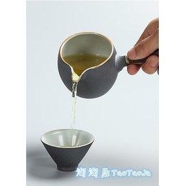 ~淘淘居~茶具系列茶海黑檀木手柄公道杯 粗陶茶海原陶分茶器功夫茶具 陶瓷