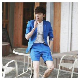 夜店西服套裝 男士棉麻修身禮服藍色中袖西服短褲套裝英倫西裝