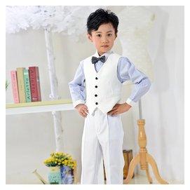男童禮服 修身兒童馬甲套裝 黑白兩色六一演出合唱套裝