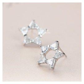 925純銀鍍白金鑲鑽蝴蝶結鏤空星星耳釘韓國女氣質 閨蜜耳環