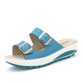 2015 舒適坡跟透氣鞋女高跟鞋 防水台厚底女真皮涼鞋涼拖沙灘鞋921 藍色 39