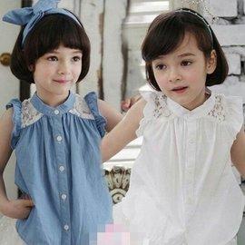 ~ ~女童  飛袖蕾絲無袖上衣娃娃衫女童襯衫 白色 藍色^~桃樂絲~奇幻衣櫥^~
