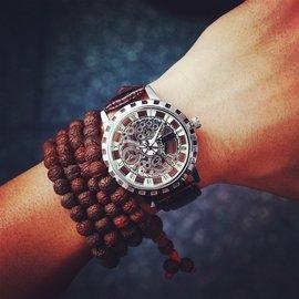 潮流 復古男錶防水真皮帶雙面鏤空非機械女錶學生時裝石英手錶