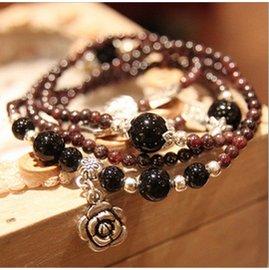 韓國 108顆水晶手鏈女款天然石榴石琥珀色玫瑰花串珠