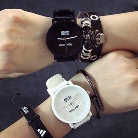 韓國大錶盤原宿復古簡約女錶潮流 男錶中學生情侶手錶石英腕錶
