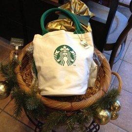 帆布包帆布袋星巴克STARBUCKS咖啡杯圓桶手提包單肩包女包包