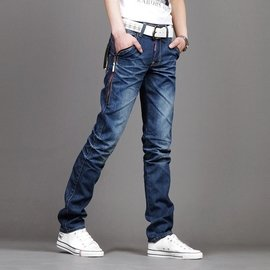 男士牛仔褲男小腳修身 潮流青年簡約直筒牛仔長褲子潮