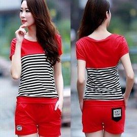 女夏裝休閒 套裝大碼 短袖短褲純棉兩件套^(紅黑灰三色M~3L^)