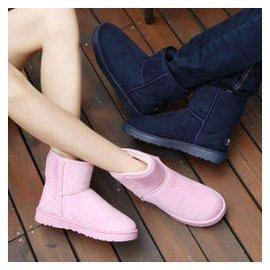情侶男女靴子 潮流雪地靴男英倫復古工裝靴男士棉鞋大碼棉靴男