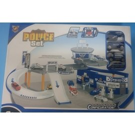 ~ ~ 磊磊小舖~ ~P819~A停車場玩具套裝組 益智拼裝互動城市警察中心^(附4台車^