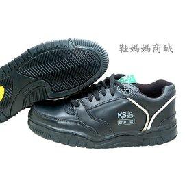 ~鞋媽媽~ 女小   真皮防水防滑~KS黑色6孔低筒~鋼頭鞋~ 鞋_ks036