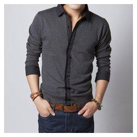 海瀾之家秋鼕季男裝 男士長袖針織衫加大碼 純色襯衫領毛衣 潮