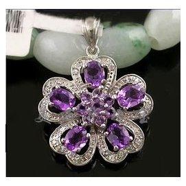 925銀鍍白金天然紫水晶吊墜純銀項墜女款鏈墜子幸福之花正品