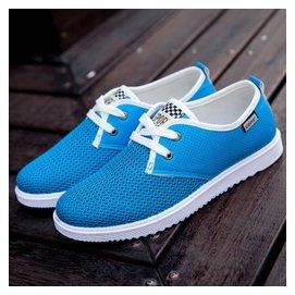 2015 特大碼男鞋透氣網鞋 旅遊鞋網面跑步鞋板鞋加大碼網布鞋男鞋子 藍色 44