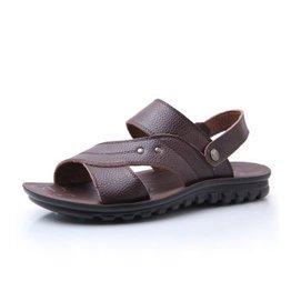 雄獅駱駝 男士涼鞋真皮日常 涼拖兩用沙灘鞋潮鞋~優選男鞋~ 棕色 42