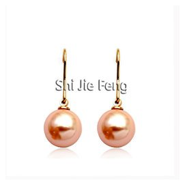 品牌首飾麗晶配飾品 18K金粉色珍珠耳環耳鉤耳釘  女