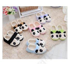 可愛卡通熊貓情侶拖鞋男女包根棉鞋室內居家帶後跟月子鞋