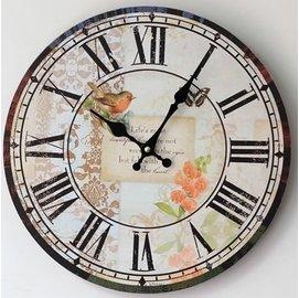 zakka雜貨 Vintage歐式鄉村風 巴黎春天法式浪漫田園花卉小鳥圖案掛鐘 羅馬數字時