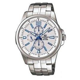 貨 CASIO EDIFICE 三眼鋼帶腕錶 銀白EF~343D