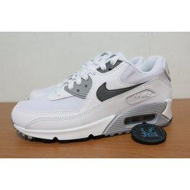 ~買鞋送襪~NIKE WMNS AIR MAX 90 白黑灰 皮革 網布 氣墊 復古慢跑鞋