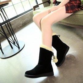 短靴棉鞋平底毛毛球女靴子加厚保暖學生毛毛靴中筒靴雪地靴女