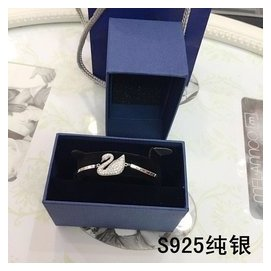 日韓高端簡約925純銀鍍白金小黑天鵝鑲鑽手鏈手鐲女生日
