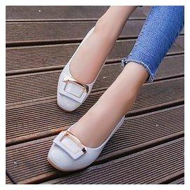 2016春 透氣淺口女單鞋低跟 方頭平底鞋 豆豆鞋女夏