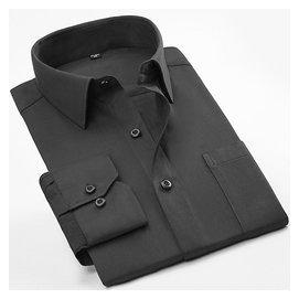 夏裝男士長袖襯衫中老年人男裝中年老人爸爸純色含棉薄款 襯衣
