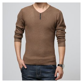 海瀾之家秋鼕款加大碼男裝V領男士針織衫 修身 毛衣