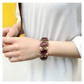 日韓飾品復古民族風紅寶石水晶手鏈女 石榴石珍珠手鐲手飾手串