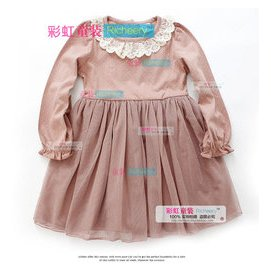 彩虹 品牌波點蕾絲鉤花圓領雙層網紗裙擺女童長袖連衣裙